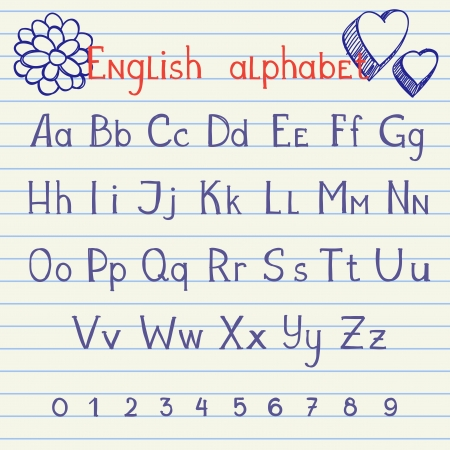 old english letter alphabet: Hand drawing english letters and numbers on school notebook Illustration