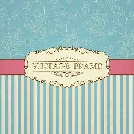 bookplate: Retro background with vintage frame and place for your text