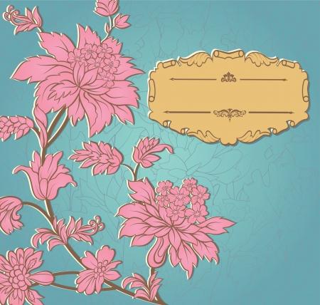 Flores de color rosa de papel y marco retro amarillo en la invitación azul de la boda o anuncios