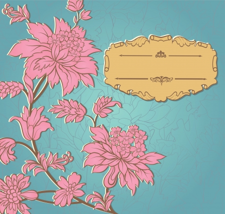 Pink paper flowers and yellow retro frame on blue background  Invitation to the wedding or announcements  Vector