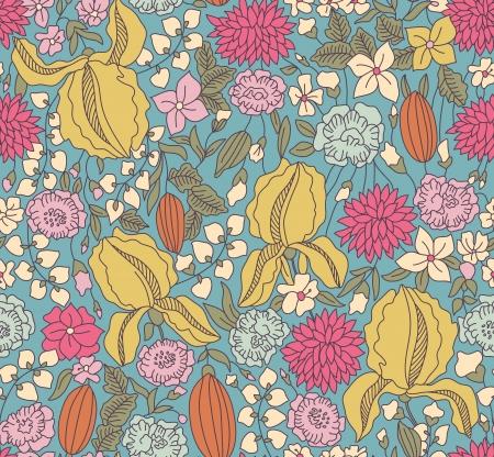 draftsmanship: Hand drawing color floral seamless