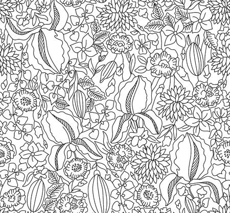 draftsmanship: Hand drawing black floral seamless on white background