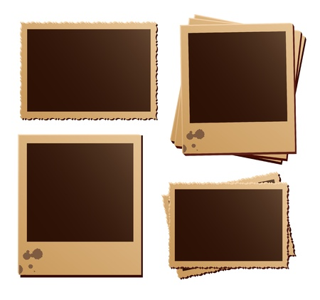 old fashioned: Retro photo frames on white background Illustration