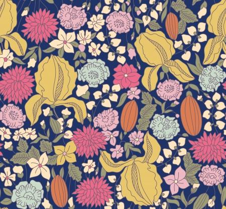 draftsmanship: Hand drawing color floral seamless on dark background