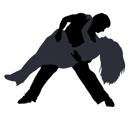 Silhouettes of couple dancing breakdance isolated on white Vector
