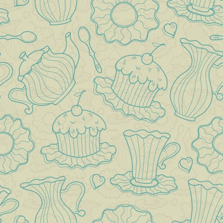 Hand drawing seamless of cake and dishes  Vector