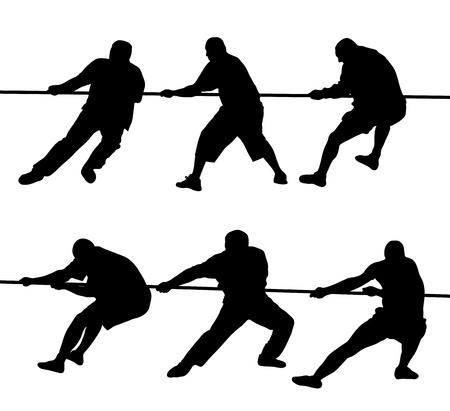 tug o war: Siluetas negras de la gente tira de la cuerda