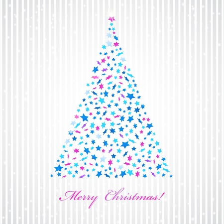 Christmas background with star tree  Invitation card  Stock Vector - 16461609