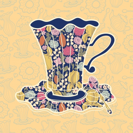 Tea time background illustration of teacup on yellow background Vector