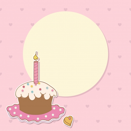 Invitation card with cake and candle  Birthday background Vector