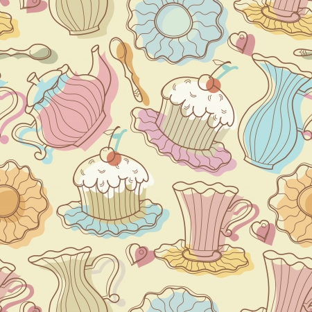 gravy: Hand drawing seamless of cake and dishes