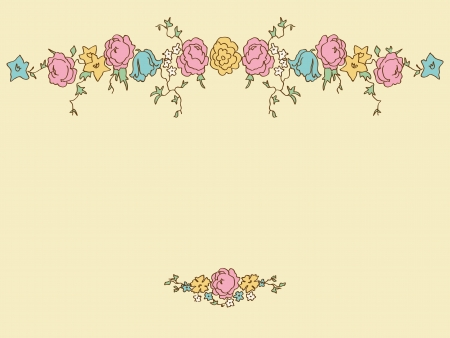 Card with hand drawing floral elements in romantic style Vector