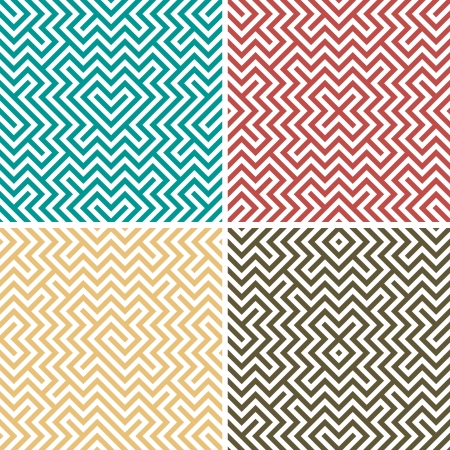 Four simple color geometric seamless Vector
