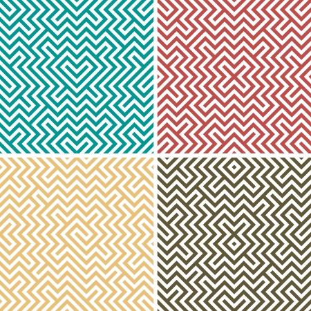 Four simple color geometric seamless Stock Vector - 16659944