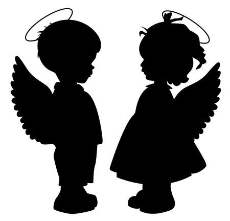 흰색에 고립 된 두 개의 검은 천사 실루엣