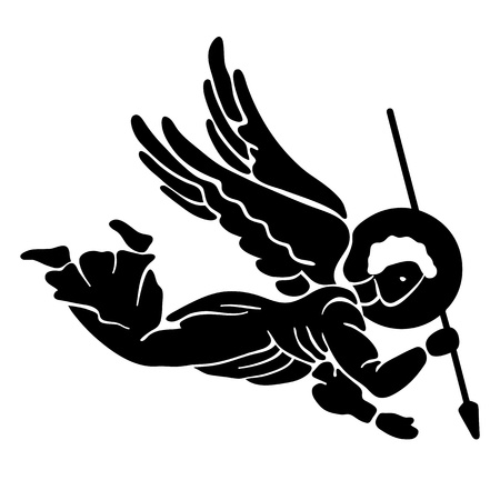 angel silhouette: Black silhouette of flying angel with spear