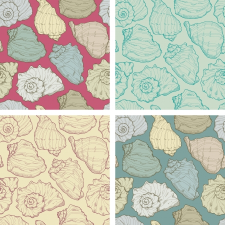 Four hand drawing seashell patterns  Vector