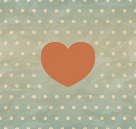 Crumpled paper with heart in retro style  Vector