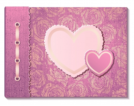 Pink fabric photo cover with hearts  EPS10 Vector