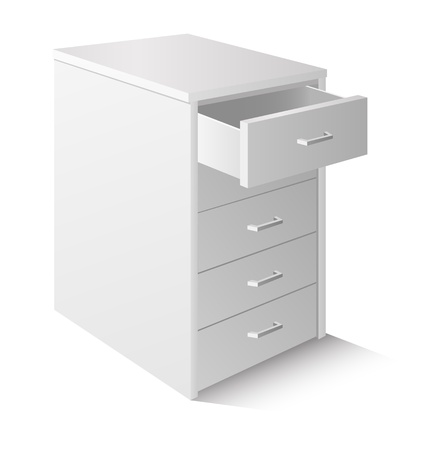 drawers: Open drawer cabinet isolated on white