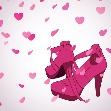 Female shoes on flying hearts background Vector