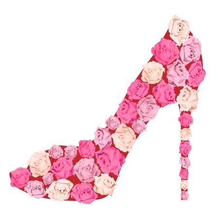 pink dress: Female shoe from roses  Fashion illustration