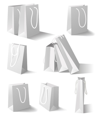 white paper bag: Paper bags isolated on white background  Set  Mesh tool used