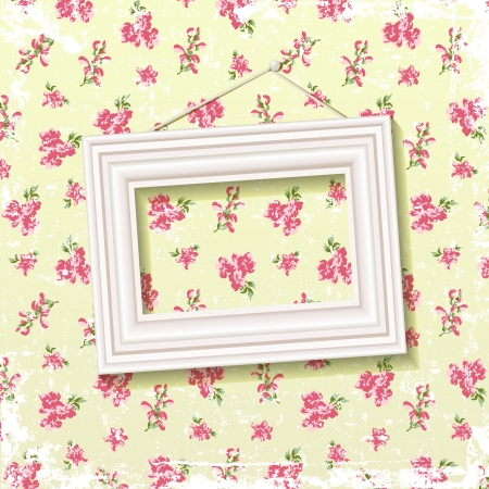 Picture frame on delicate floral background  EPS 10 blend mode used Vector