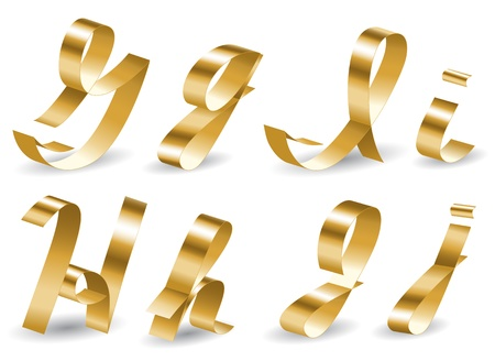 Letters of english alphabet from gold ribbon Vector