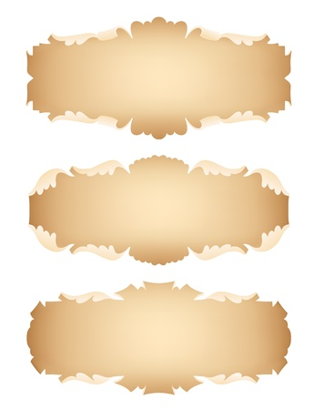 paper scroll: Set of vintage frames in view scrolls isolated on white background Illustration