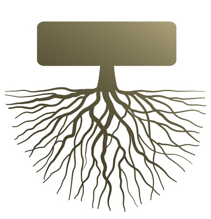 simple life: Conceptual illustration with silhouette of tree root
