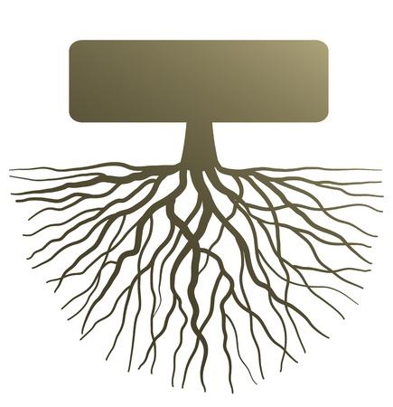 vida social: Ilustraci�n conceptual con la silueta de la ra�z del �rbol