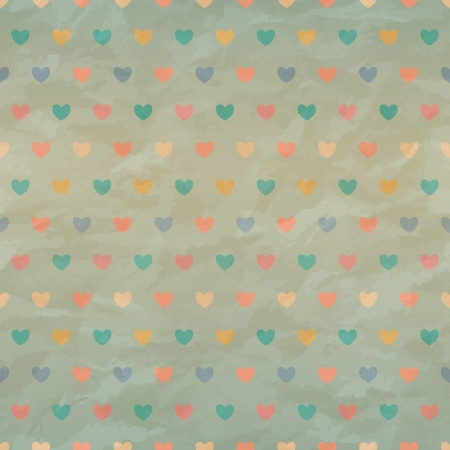 Retro seamless with color hearts on old crumpled paper  transparency Stock Vector - 18234856