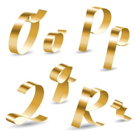 decorative letter: Letters of english alphabet from gold ribbon Illustration