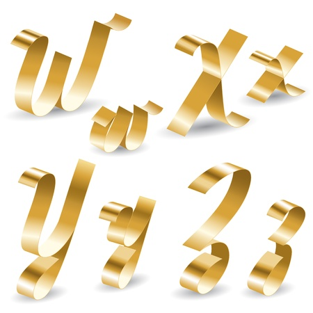 golden font: Letters of english alphabet from gold ribbon Illustration
