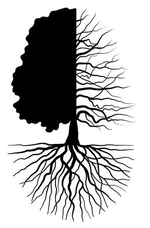 leven en dood: Boom silhouet begrip symbool van de seizoenen Stock Illustratie
