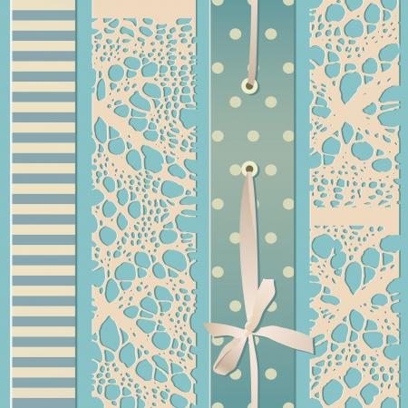 別の生地の縫製部分とシームレスなレトロ  イラスト・ベクター素材