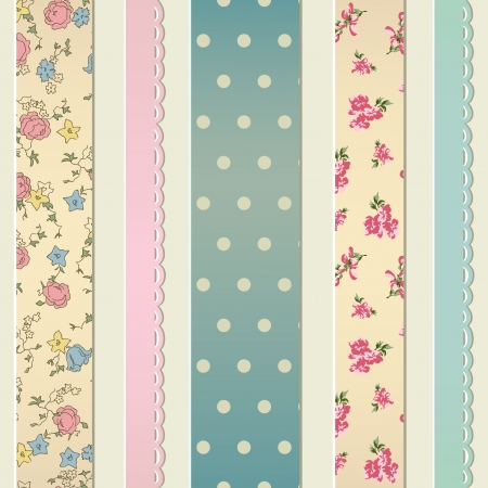 Retro seamless with sewn pieces of different fabrics Vector