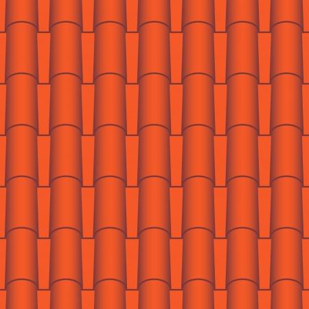 roof line: Azulejos rojos tejados textura vector sin fisuras Vectores
