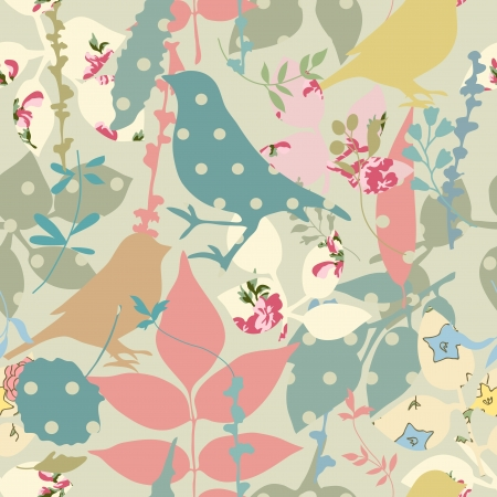 Floral seamless with birds Stock Vector - 18550925