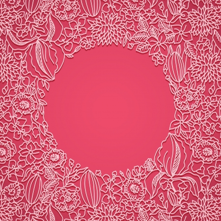 shabby chic: Bright pink card with ornamental pattern and frame