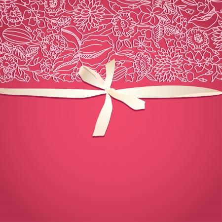 装飾的なパターンと弓のレトロなスタイルで明るいピンクのカード  イラスト・ベクター素材