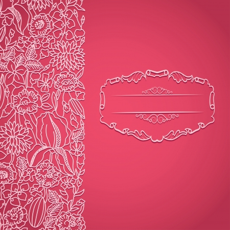 Bright pink card with ornamental pattern and frame Vector