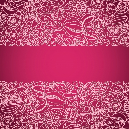 Bright pink card with lacel pattern and your text place Vector