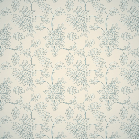 Blue floral ornament on light background Illustration