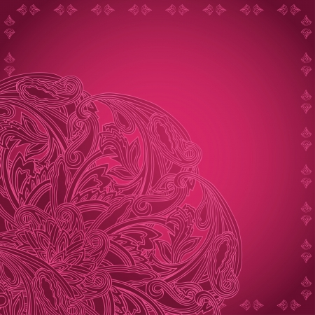 Bright pink card with corner ornamental pattern Vector