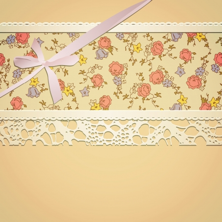 Vintage card witn floral pattern, lace and bow blend mode and transparency used Vector