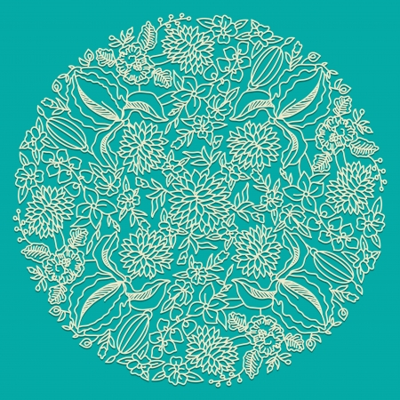 Circle floral ornament, ornamental round lace Stock Vector - 18846360