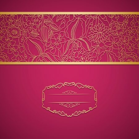 Bright pink card with golden ornament and your text place