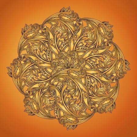 brown background: Indian henna round design element on brown background